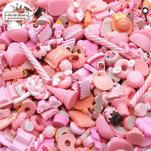 mix design dessert pink color 100pcs Resin Flat back Cabochon Art Supply Decoration Charm Craft
