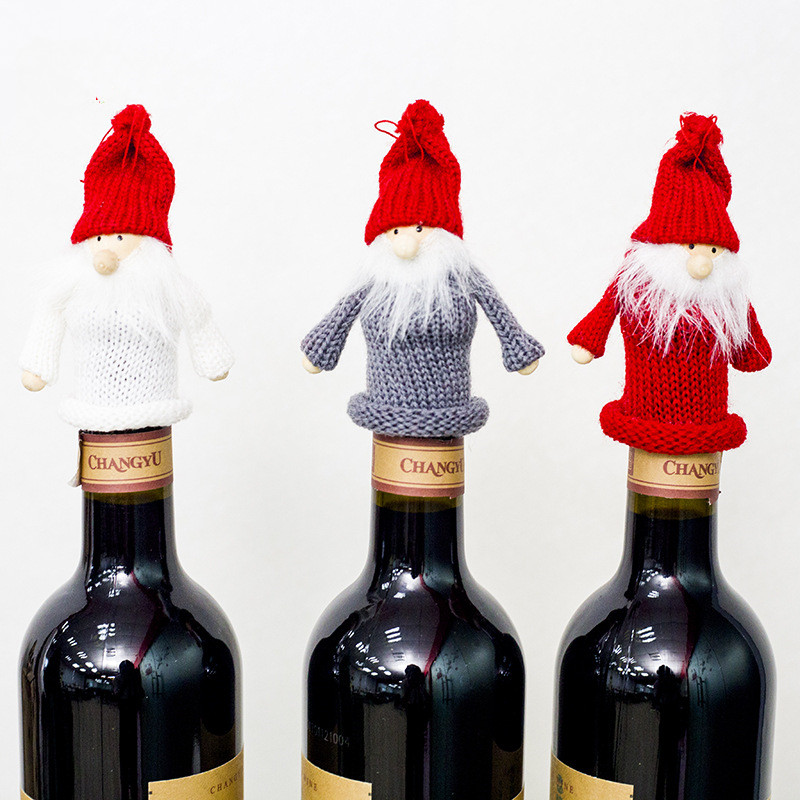 Christmas Decorations For Home Kitchen Wine Bottle Decor Set Santa