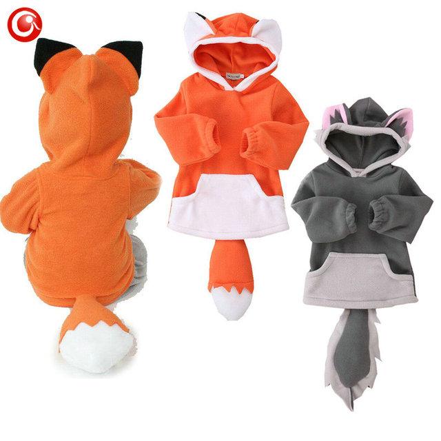 Niños bebés Traje de Zorro Chaqueta de Manga Larga Recién Nacido Niñas Lindos de la Capa Sudadera Con Capucha Animal Outwear la Ropa 7-24 M