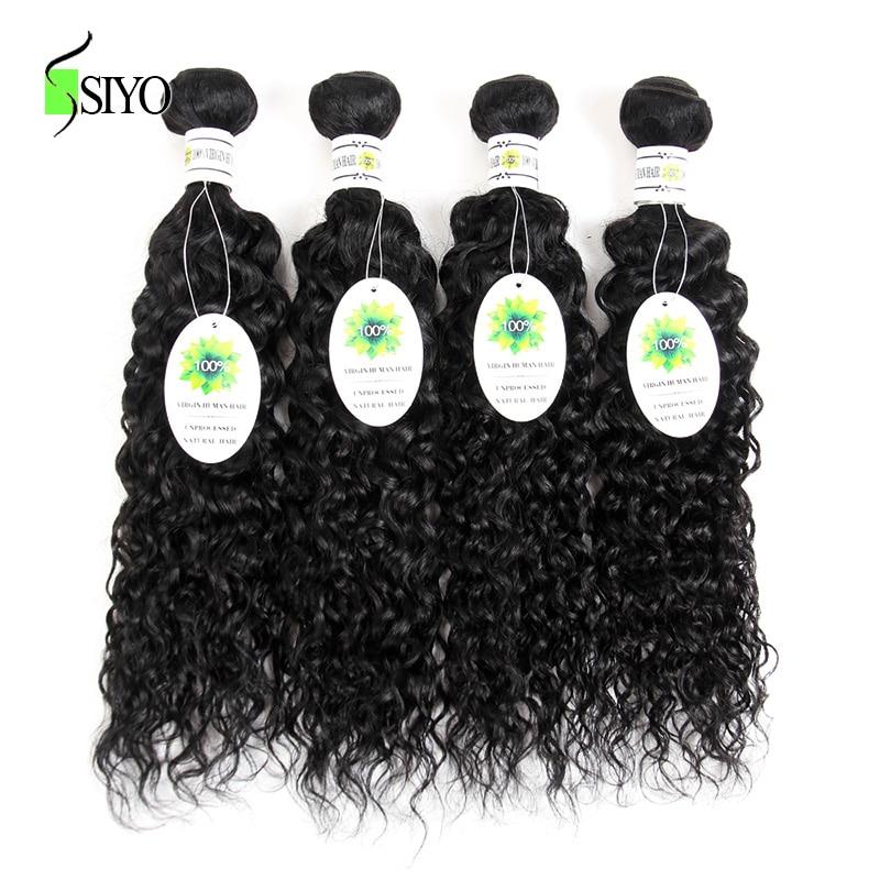 Siyo волосы перуанский вода волны Связки человеческих волос Связки nonremy человеческих волос 4 шт. натуральный черный цвет может быть окрашенна...