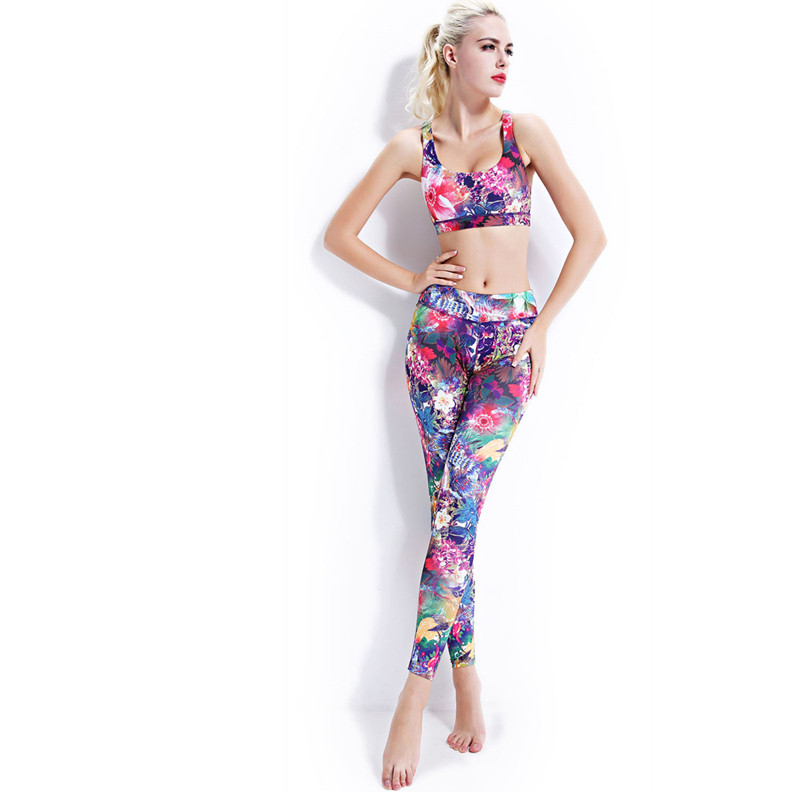 Professional Women 39 s Yoga Sets Gym Tights Exercise Slim Sports Running Leggings Sexy Tight Elastic Slim Printed Yoga Suits