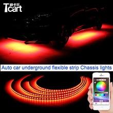 Tcart приложение управления 90/120 cm автомобилей Светодиодная rgb-лента для автомобиля фары под автомобилей Glow днища Системы неоновый свет Водонепроницаемые наклейки для автомобилей
