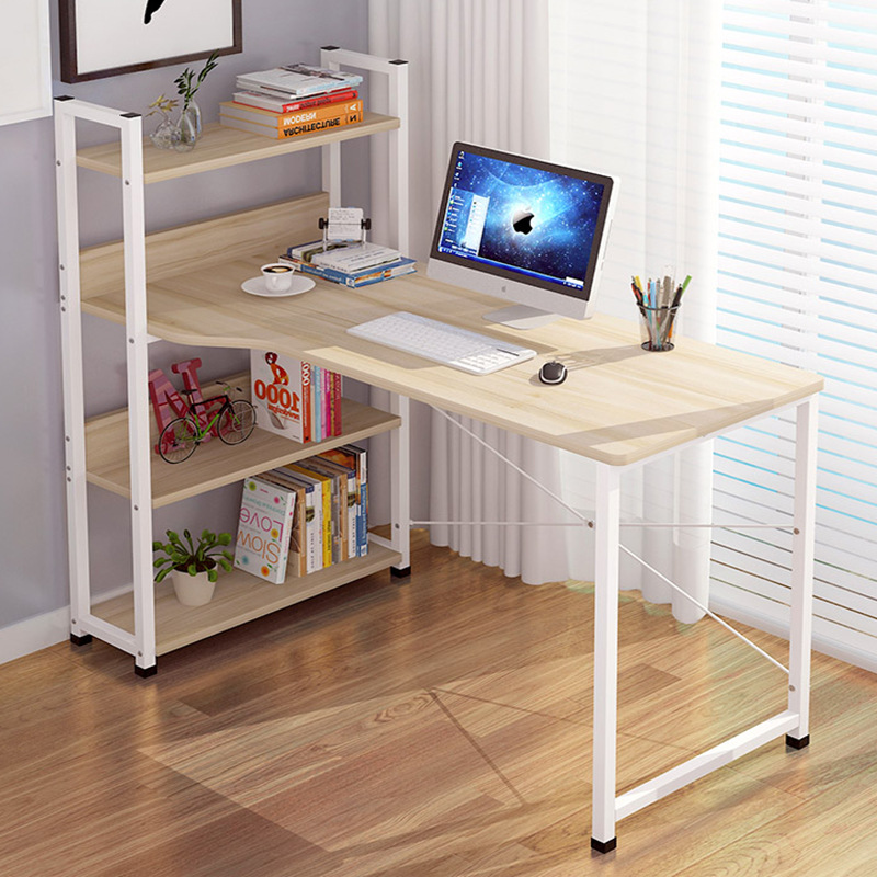 LK619 Heavy Loading Computer Desk Study Table  Steel+Density Plate Laptop Table With 4 Layers Storage Rack Office Furniture