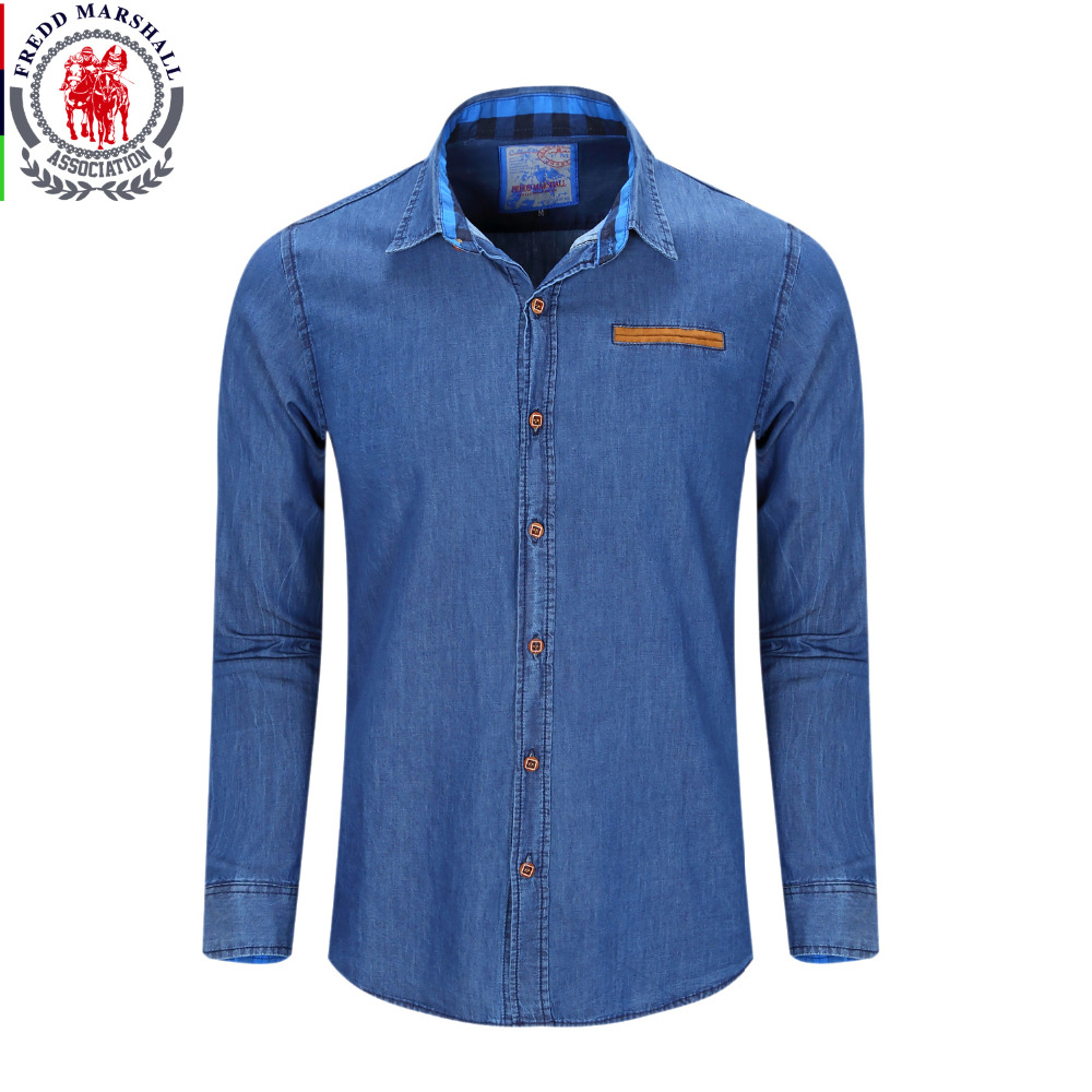 Men 39 s denim shirt new dress shirts male shirt 100 cotton for Men s classic dress shirts