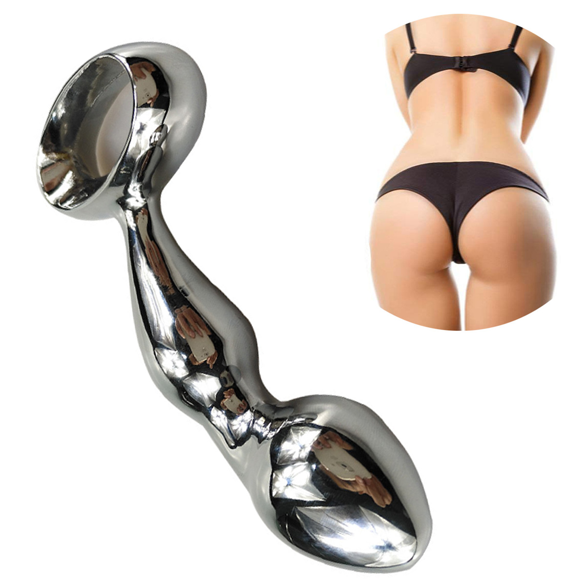 Stainless Steel Anal Hook with Hole Ring Metal Butt Plug Vagina Prostate Massage Device Wand Sex Toys Adult Products Chastity in Anal Sex Toys from Beauty Health