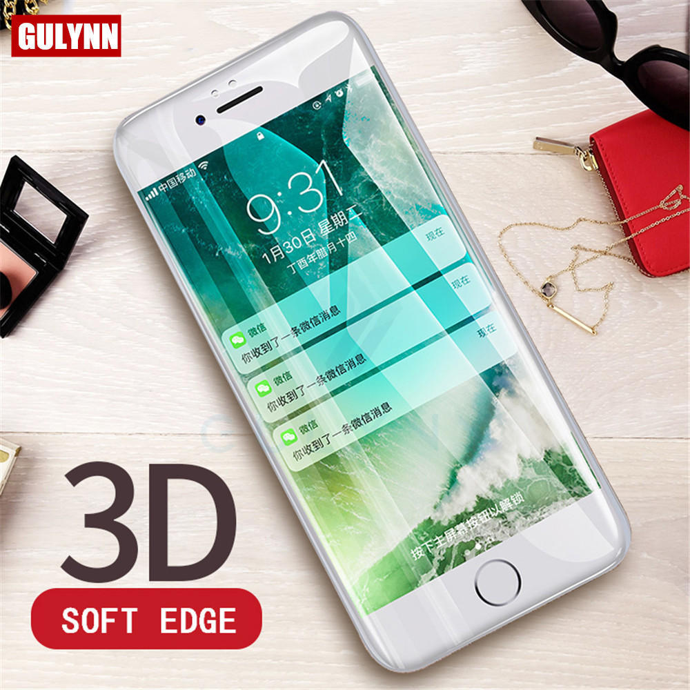 Full Coverage Tempered Glass For IPhone 8 7 6S 6 Plus Full Screen Protector 3D Curved Soft Edge Film For IPhone X 10 XS MAX XR image