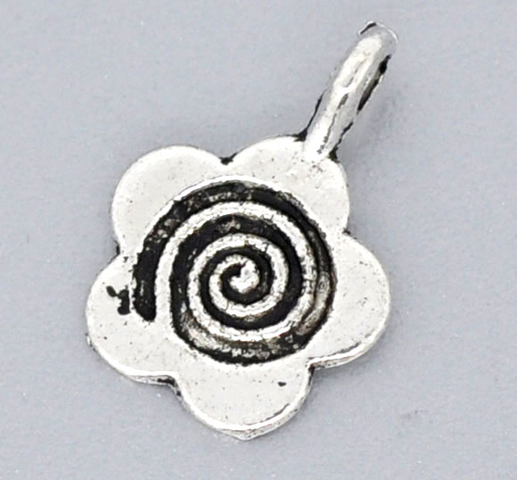 DoreenBeads Silver Color Flower Glue On Bail 15x11mm, Sold Per Packet Of 25