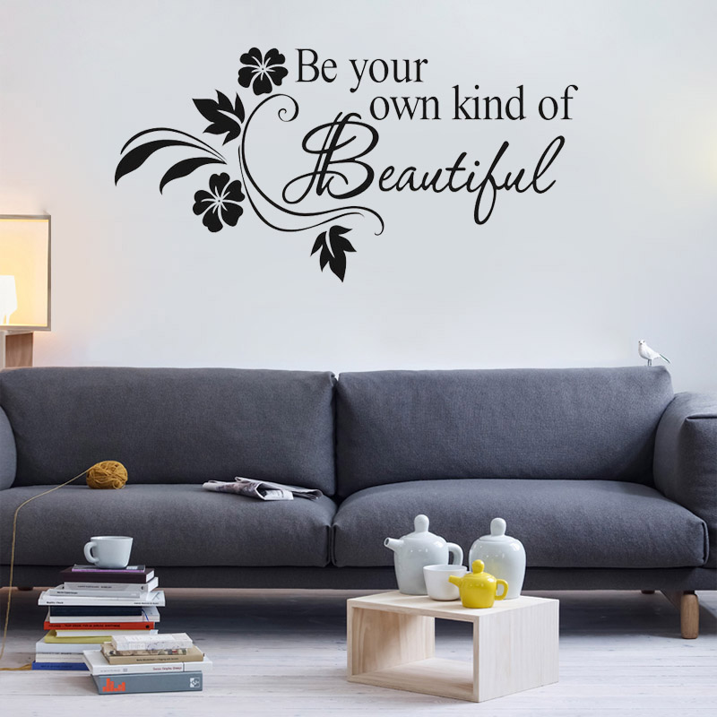 Be your own kind of beautiful quotes lettering words - Beautiful wall stickers for living room ...