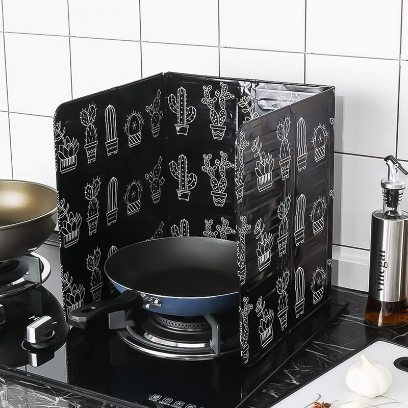 Aluminum Foil Oil Block Oil Barrier Stove Cook Cactus Printed Anti-Splashing Oil Baffle Heat Insulation Kitchen Utensils Hot 7