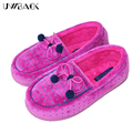 Uwback 2016 New Brand Winter Slippers Women Indoor Warm Rosered Plush Pantoufle Femme Home Soft Bowtie Shoes Woman TJ098