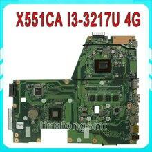 Original For ASUS X551CA F551C Laptop motherboard X551CA mainboard REV2.2 cpu I3 3217u 4GB onboard 60NB0340-MB6030 100% test
