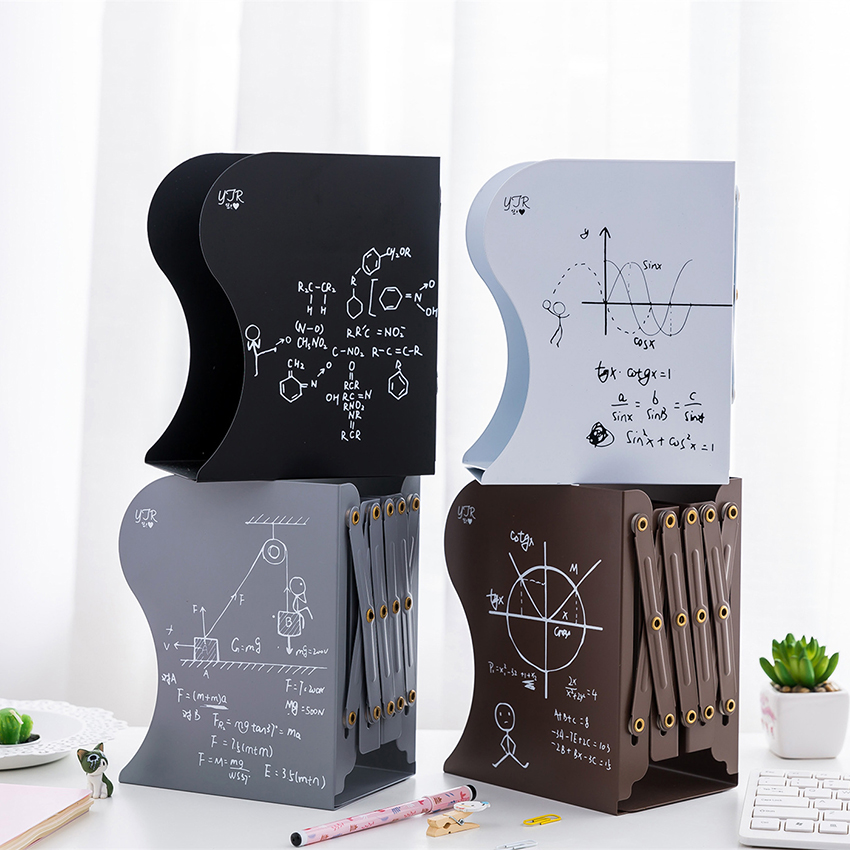 Retractable Metal Mathematical Function Bookend Support Office Desktop Organizer Book Stopper For Books/movies/CDs 150*100*190mm
