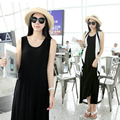 Pregnant Women Summer Black Maxi Dresses Ladies Cotton Sleeveless Casual Dress for Pregnancy Loose Maternity Clothes 335