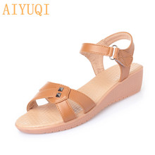 AIYUQI Sandals for women 2019 new women's summer footwear flat casual large size women's shoes Open toe Comfortable mother shoes mother sandals soft leather large size flat sandals summer casual comfortable non slip in the elderly women s shoes 35 40 41