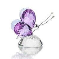 H & D X'mas Cadeaux Cristal Pourpre Vol Papillon avec Base De Boule De Cristal Figurine Collection Cut Verre Ornement Animal de Collection
