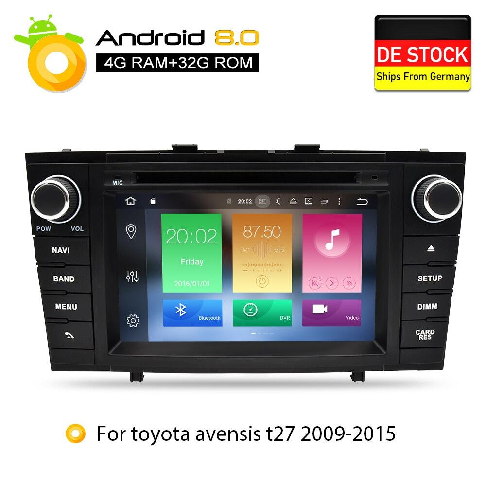 Android 8.0 DVD de Voiture Stéréo Multimédia Headunit Pour Toyota T27 Avensis 2009-2014 Auto PC Radio GPS Navigation Vidéo audio 4g RAM