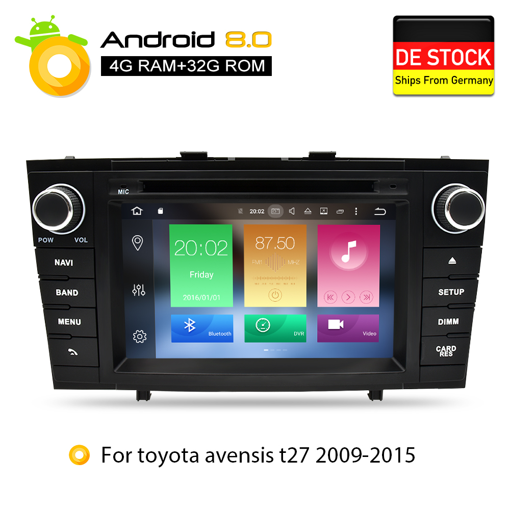 Android 8 0 font b Car b font DVD Stereo Multimedia Headunit For Toyota T27 Avensis