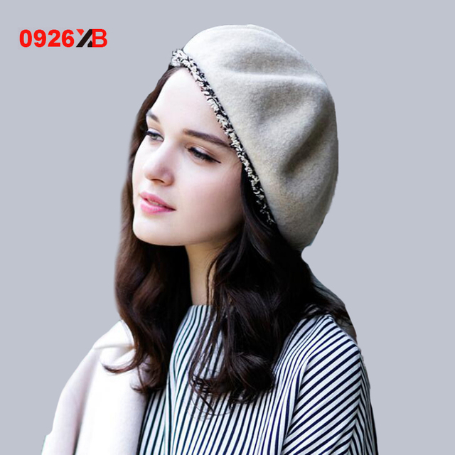 Solid color Women Felt French Beret Beanie hat Winter XB-D727