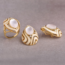 Enamel Jewelry Sets 18K Gold Filled White Cat Eye Ring Earrings Elegant Waterdrop Shape Wedding Jewelry Set Mariage Bijoux Femme
