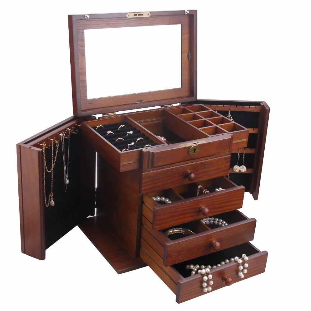 ROWLING en bois Extra Large boîte à bijoux bijoux serrure Armoire miroir mallette de rangement bibelot Armoire cercueil colliers boucles d'oreilles crochet