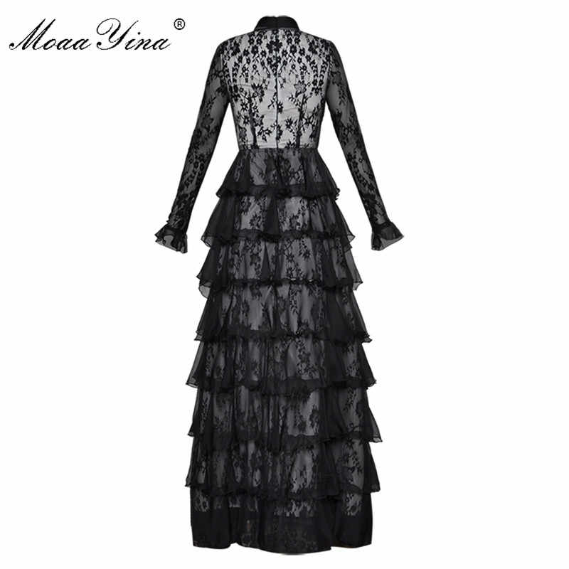 731d98ba64 ... MoaaYina Fashion Designer Runway Maxi Cake Dress Butterfly sleeve  Turtleneck Lace Perspective Pleated Party Noble Elegant ...
