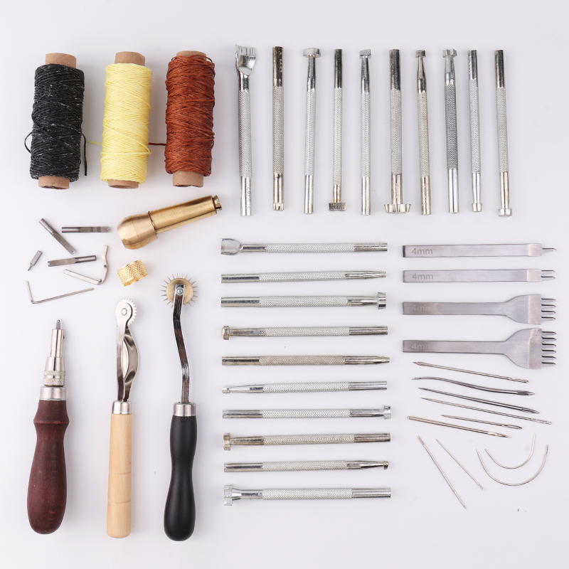 48 pcs/set Leather Craft Tools Kit With 20 pc Printing Tools Sewing Saddle Groover Leather Processing Tool Set Sewing Supplies-in Leathercraft Tool Sets from Home & Garden