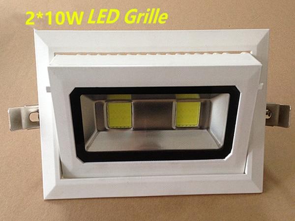 10 pcs/lot 20 W rotatif Rectangle COB LED Downlight encastré en aluminium moulé sous pression Grille blanc peinture shell AC110V220V230V