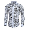Plus Size 2016 New Spring Autumn Mens Floral Print Shirts Men Cotton Polyester Casual Turn Down Collar Shirts Homme High Quality
