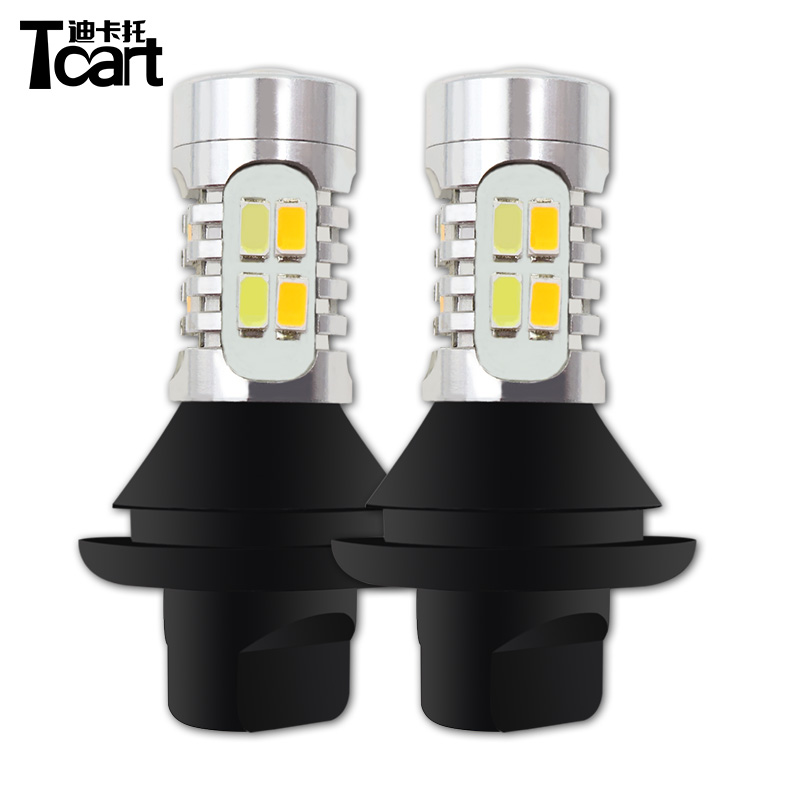 Tcart 1Set Auto Led DRL Daytime Running Lights Turn Signals Car White+Golden Lamps P21W BA15S For Opel Vectra C 2003 Antara 2012