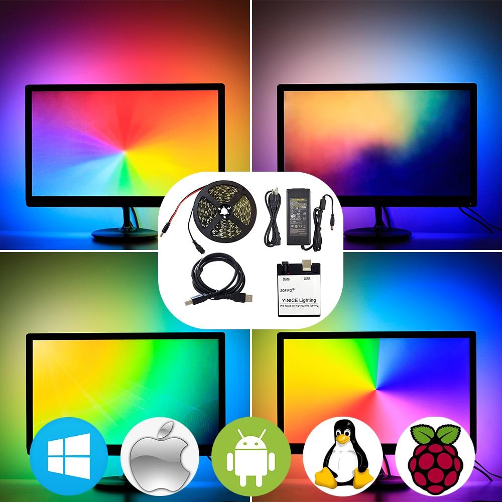 RGB USB LED Strip light 5050 SMD HDTV TV Desktop PC Screen Backlight lighting Ambilight ws2812