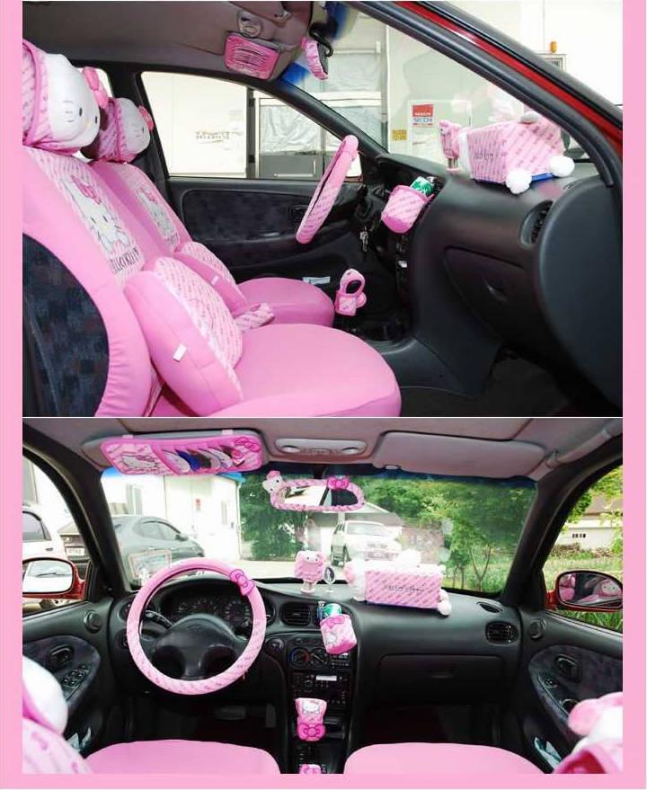Hello Kitty - Seat Cushion, Steering Cover, Sun Visor, CD Storage Bag