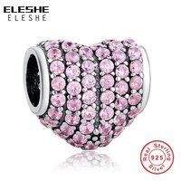2016 Fashion Jewelry Full Crystal Charm Fit Original Bracelet Necklace 925 Sterling Silver Sweetheart Fancy Pink