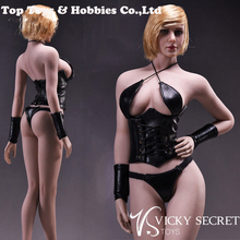 1/6 Female Hanging Neck Underwear VStoys Sexy Leather Lingerie F 12 Girl Body Clothing Set For Action Figure