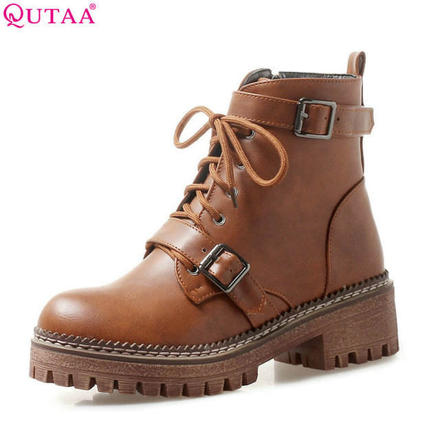 $ US $26.03 QUTAA 2020 Women Ankle Boots Winter Shoes Platform All Match Zipper Square Heel Elegant Women Shoes Women Boots Big Size 34-43