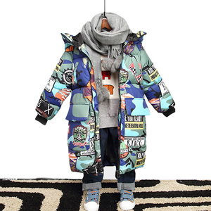 Image 1 - Winter Jacket for Boy Warm Kids Clothes Jacket Hooded Camouflage Parka for Boy Outerwear Coats Childrens Parkas