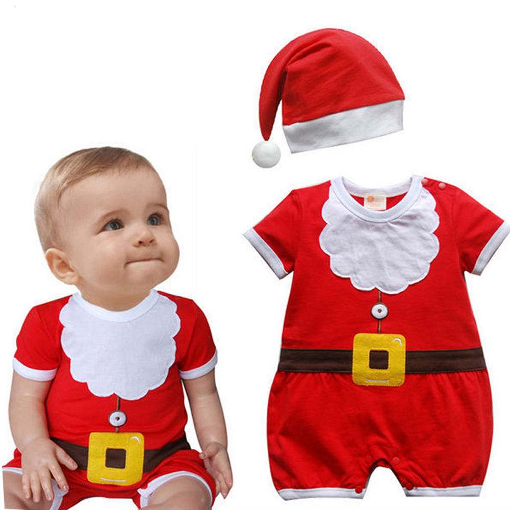 Christmas Gifts Baby rompers 2016 newborn baby boy clothes sets New year red One-piece jumpsuit hat baby Costumes infantil
