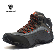 TANTU Men Hiking Shoes Breathable Leather Outdoor Sneaker Camping Trekking Climbing 39 to 46 High Sport 2 Colors