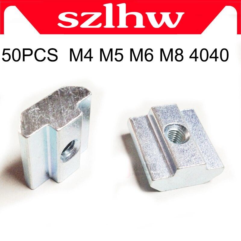 NEW 50pcs/lot T Sliding Nut Block Square nuts M4 M5 M6 m8 for 4040 Aluminum Profile Slot 8 Aluminum connector Accessor