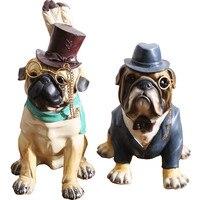 American retro Творческий смоляные фигурки бульдог гостиная собака кукла декора ремесла Главная мягкой мебели украшения Аксессуары