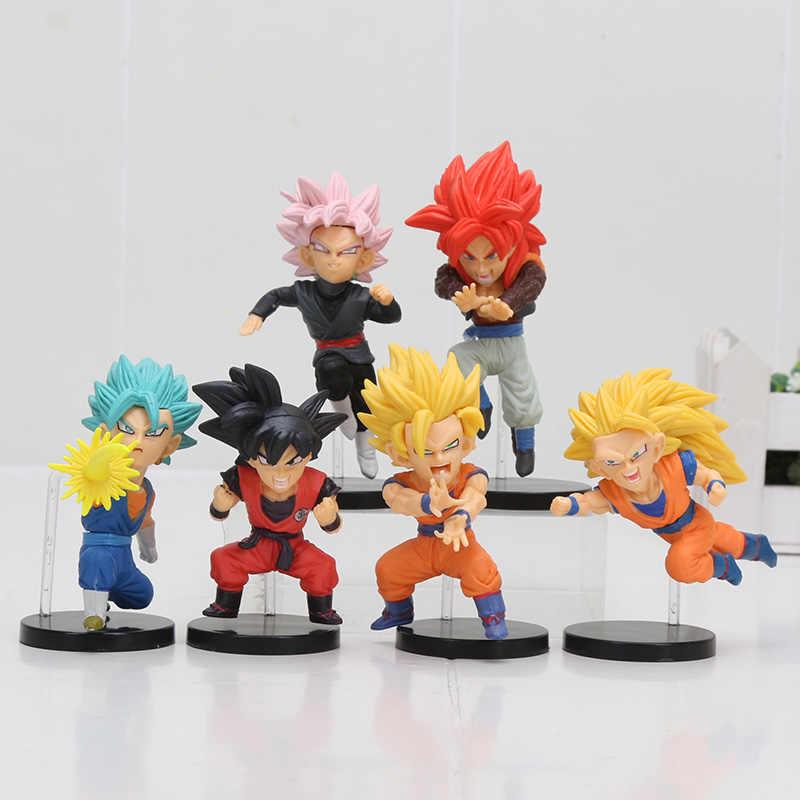 6 pçs/set 8cm Son Gohan Goku De Dragon Ball Z Majin Buu Couve Jiren Célula Freeza Piccolo Broly Gotenks Beerus WCF Figura Toy Modelo
