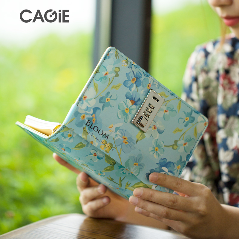 Lock Journal Binder Diary Notebook a6 Refillable 6 Ring Locking Diary Faux Leather Cute Flowers 160 Pages Personal Diary diary