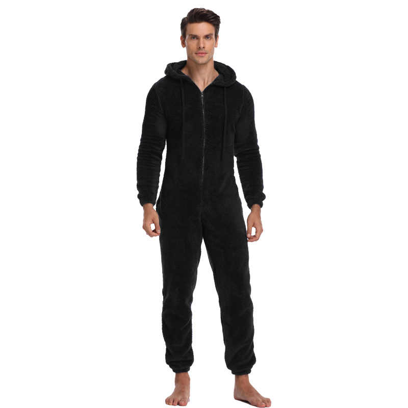 d3dd32247dc3 Men Warm Teddy Fleece Onesie Fluffy Sleep Lounge Adult Sleepwear One Piece  Pyjamas Male Jumpsuits Hooded