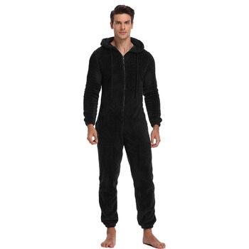 Hommes chaud Teddy polaire Onesie moelleux sommeil salon adulte vêtements de nuit une pièce Pyjamas mâle combinaisons à capuche Onesies pour adultes hommes