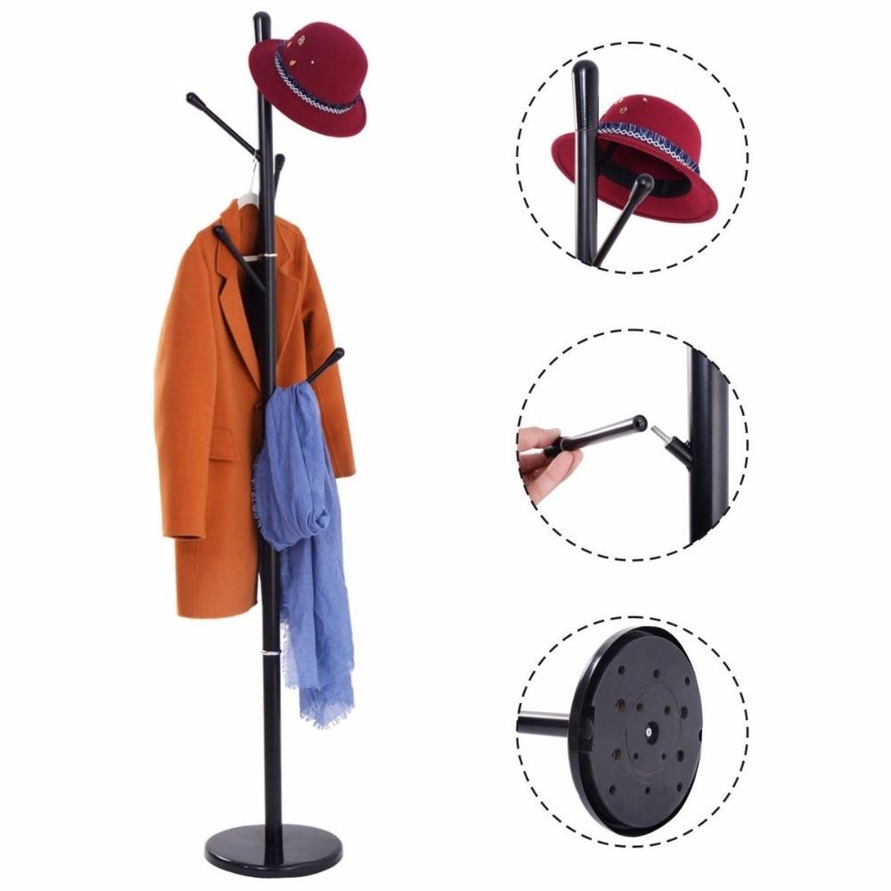 Goplus Metal Coat Rack Hat Tree Stand Clothes Holder Umbrella Bag Hanger Hall Modern Living Room Iron Clothes Hanger HW53790 allen roth brinkley handsome oil rubbed bronze metal toothbrush holder
