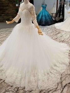 Image 2 - LSS047 elegante avorio abito da sposa o collo a maniche lunghe in pizzo su indietro musulmano vestido madrinha de casamento longo