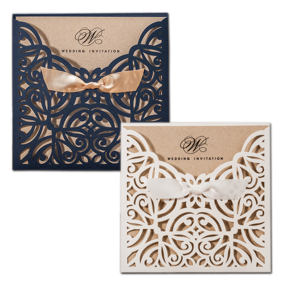 50X WISHMADE Square Gold Laser Cut Wedding Invitations Cards with Bowknot  Tri-fold Lace Sleeve Cardstock