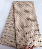 Champagne gold polish cotton lace for men African voile lace Swiss fabric High quality 5 yards per piece Hot sale