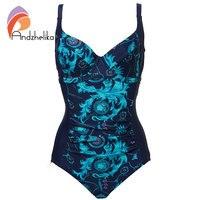 Andzhelika Women One Piece Swimsuit New Sexy Fold Swimwear Retro Plus Size Bodysuit Sport Beach Swim