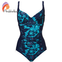 Andzhelika Women One Piece Swimsuit New Sexy Fold Swimwear Retro Plus Size Bodysuit Sport Beach Swim