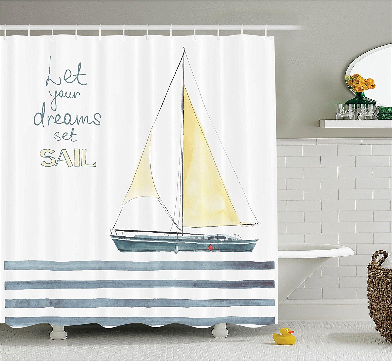 Sailboat Nautical Decor Shower Curtain Quote Stripes Yacht Interior ...